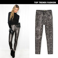 Fashion Winter High Waist Snake Print Women Pants High Elastic Silver Color PU Leather Skinny Trousers High Stretch Pants