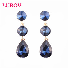 LUBOV Mixed color Square Candy Crystal Drop Earrings for Women Korean Fasion Jewelry Party Wedding Gift Free Shipping