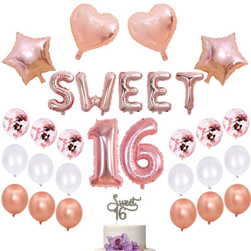 27 Pçs/set Doce 16 Decorações Do Partido Balão de Ouro Rosa 32 Polegada Número Dezesseis Decoração Do Aniversário Suprimentos Doce 16 Balão