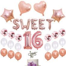 Ballons décoratifs pour 16 fêtes, 27 pièces, couleur or Rose, 32 pouces, fournitures décoratives pour 16 anniversaires