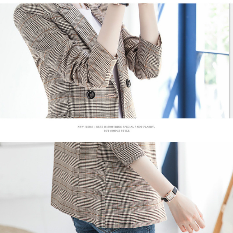 Ladies winter plaid suit 2019 new temperament long sleeved large size blazer High quality office jacket female Elegant top in Blazers from Women 39 s Clothing