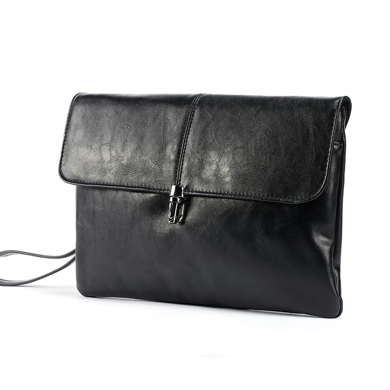 Luxury Shining Oil Wax Leather Men Clutch Bag Long Leather Men Wallet Double Layer Business Leather Clutch Bag