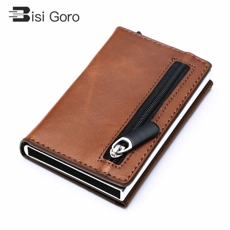 BISIGORO Rfid Smart Wallet Credit Card Holder Metal Dunne Slanke Mannen Portefeuilles Pass secret pop up minimalistische portemonnee kleine zwarte portemonnee