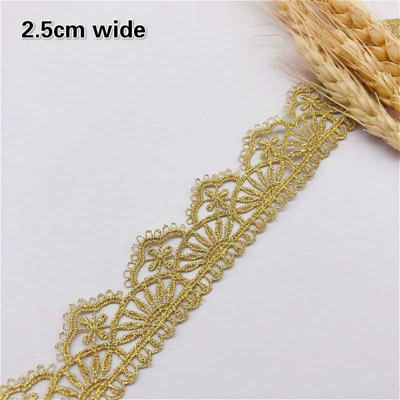 DIY High Quality Gold Thread Water Soluble Embroidery Lace Ribbon Handmade Clothing Skirt Cheongsam Hat Head Flower Decoration