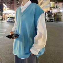 Pull à col en v tricoté pour homme, couleur unie, Design Simple, loisirs Chic, ample, tendance, Couple étudiant, rétro, Harajuku