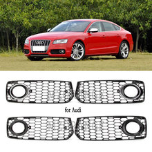 2 Pcs Chrome สีดำไฟตัดหมอกรถย่าง Honeycomb Hex ด้านหน้า Grille Grill สำหรับ Audi A5 S สาย/S5 B8 RS5 2008 2012