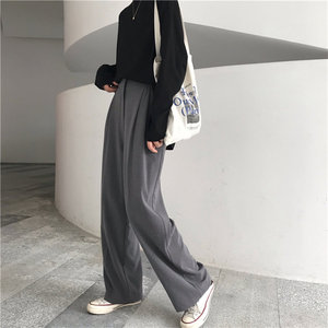 HziriP Straight Large Size Casual Solid Wide Leg Trousers Streetwear Suit Full-Length Hot Selling Chic Loose High Quality Pants(China)