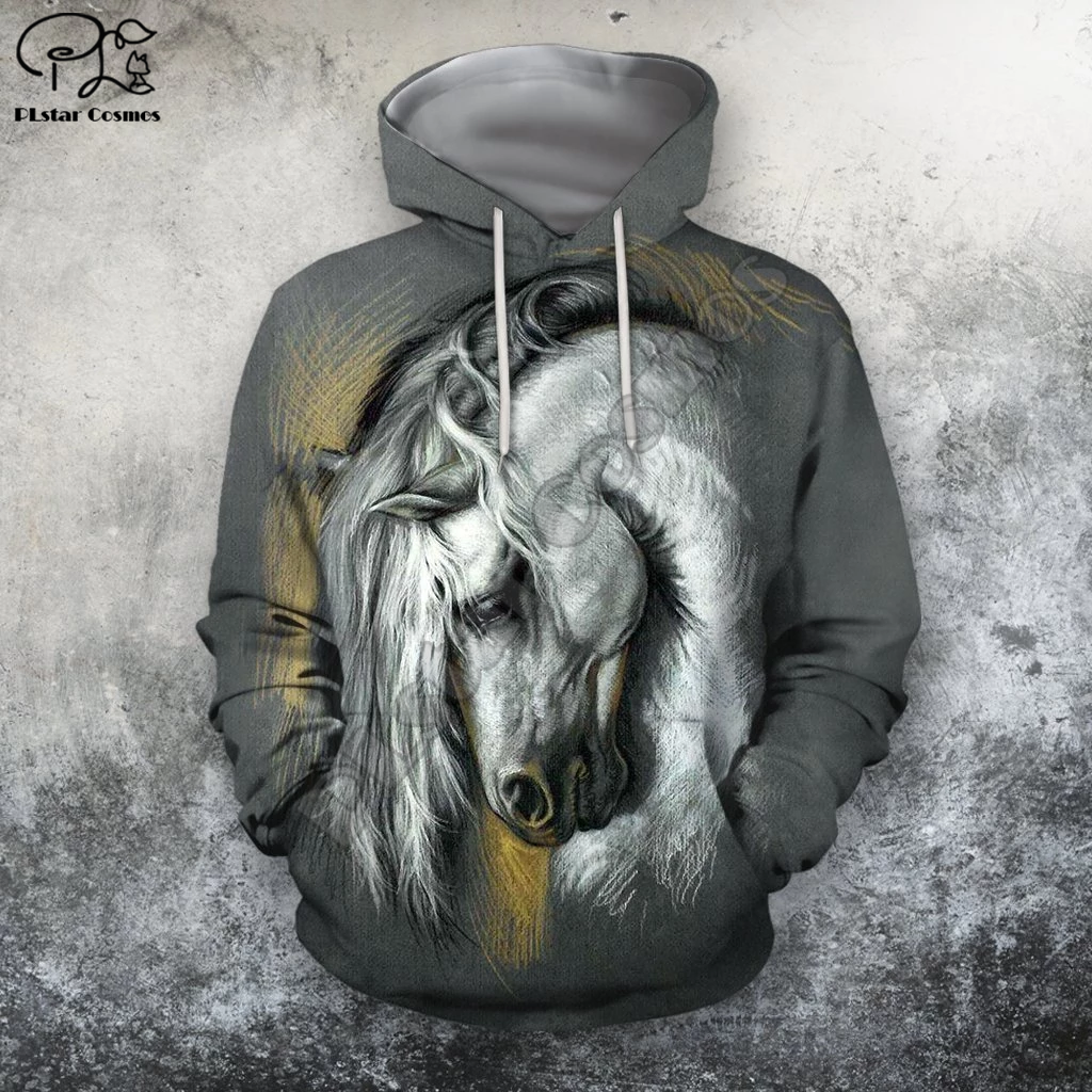 PLstar Cosmos Horse Art Animal Casual Harajuku Cartoon Tracksuit Pullover 3DPrint zipper/Hoodie/Sweatshirt/Jacket/Men/Women s-3