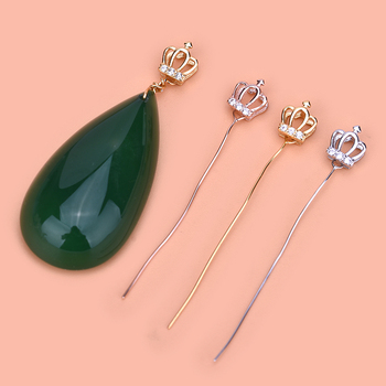 S925 sterling silver universal pin head, crown hollowed pendant head pin type Jadeite beeswax straight pin type image