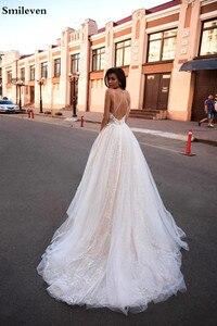 Image 2 - Smileven linia suknia ślubna brokat Boho ślubne suknie V Neck arabski Vestido De Noiva suknie ślubne dla dziewczyna klienta wykonane