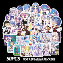 50Pcs Anime Adesivi RE: ZERO Anime Sticker Emilia Ram Adesivi Carino Ragazze Kawaii Scrapbooking Sticker Per Il Computer Portatile Del Telefono Scrapbook(China)