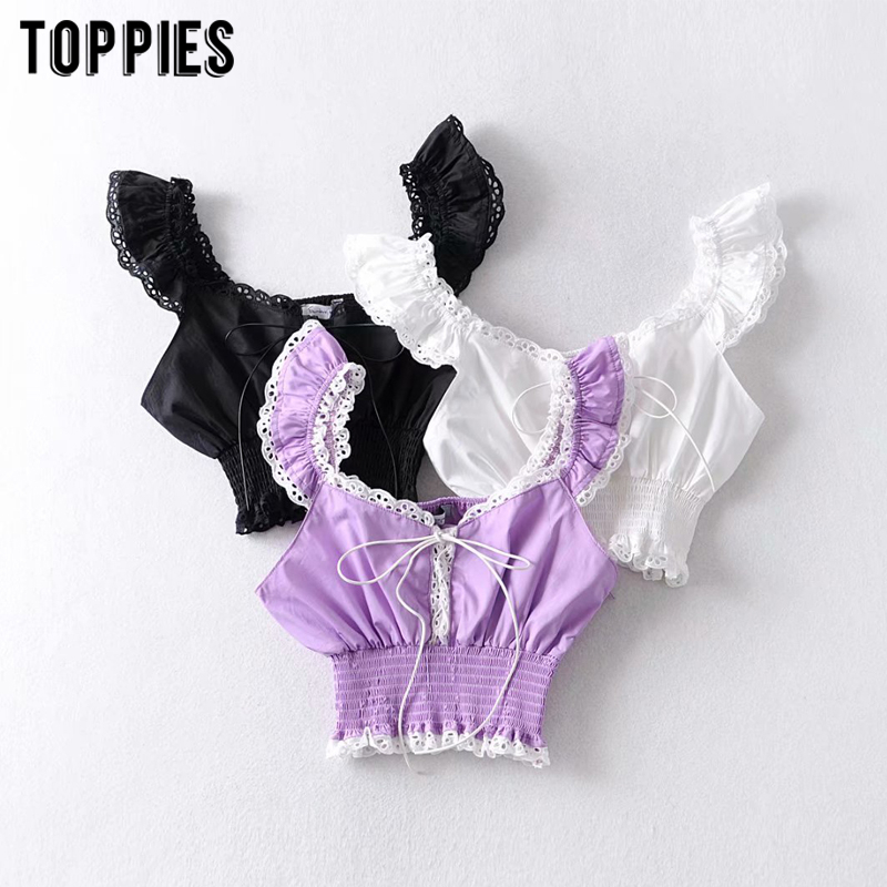 2020 Summer White Lacet Tops Sexy Crop Tops Lolita Gothic Short Shirts Spliced Camis