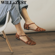 WILL&ZEST Leather Gladiator Flat Sandals T-Strap Womens Shoes Designer Summer Female Mary Jane 2021 Nursing Cute Shoes Low Heel