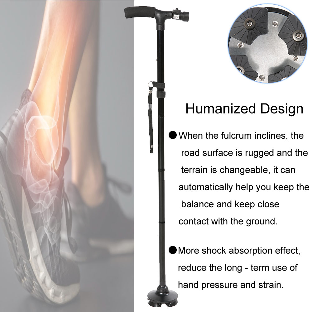 Foldable LED Safety Walking Stick Height Adjustable Aluminum Alloy Magic Cane for Old Man Elderly Patient Crutch Walking Stick