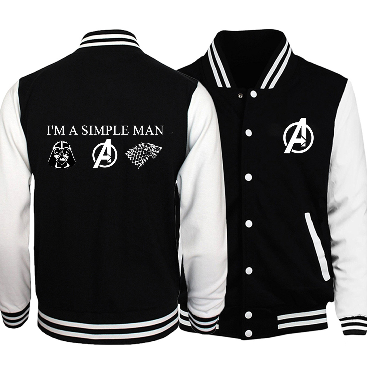 Men Avengers Game Of Thrones Print Baseball Jackets I'm A Simple Man Love Star Wars Pattern 2019 Winter Black Warm Fleece Jacket