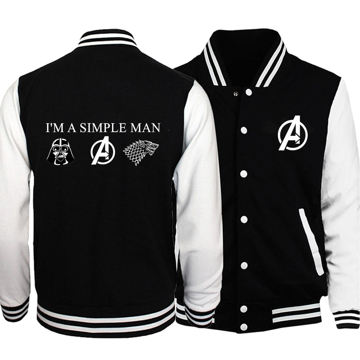Men Avengers Game Of Thrones Print Baseball Jackets I'm A Simple Man Love Star Wars Pattern 2019 Winter Black Warm Fleece Jacket