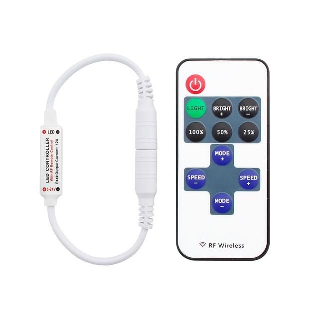 12 24 فولت 11 مفاتيح RF LED قطاع تحكم عن بعد باهتة صغيرة RF تيار مستمر 5 فولت 12 فولت 24 فولت led تحكم عن بعد ل LED 5050 2835 قطاع واحد