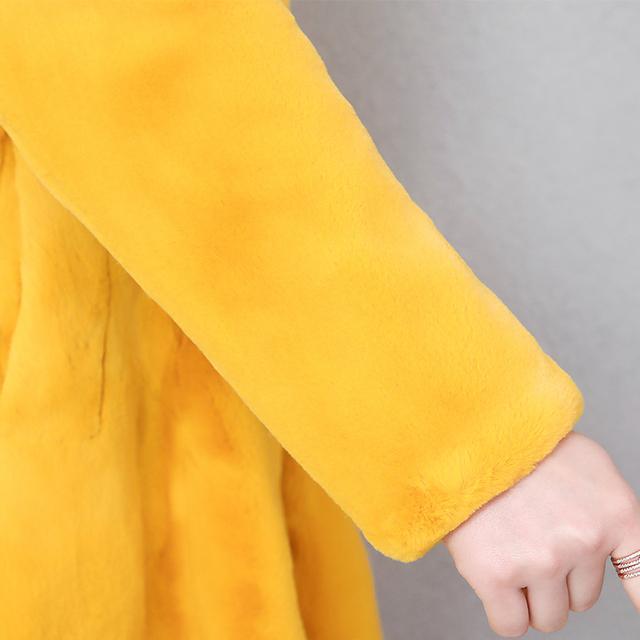 Nerazzurri fit and flare faux fur coat women long sleeve yellow grey fake rabbit fur overcoat winter plus size fluffy furry coat
