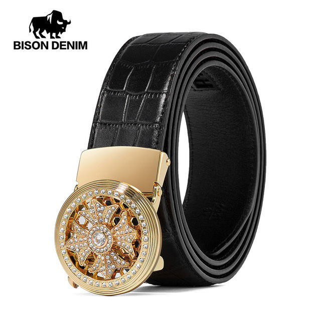 BISON DENIM Genuine Leather Men Belt Automatic Alloy Diamond Buckle Luxury Leather Strap for Male High Quality N71507