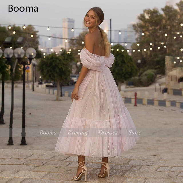 Booma Blush Pink Short Prom Dresses 2021 Off Shoulder Tiered Skirt A-Line Party Dresses Pleated Tea-Length Tulle Formal Gowns 2