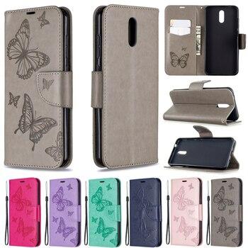 Перейти на Алиэкспресс и купить Embossing Butterfly Flip Phone Case For Nokia 2.3 /6.2 /7.2 /2.2 /3.2 /4.2 /5.1 /3.1 Leather Wallet Case For NOKIA 1Plus Case