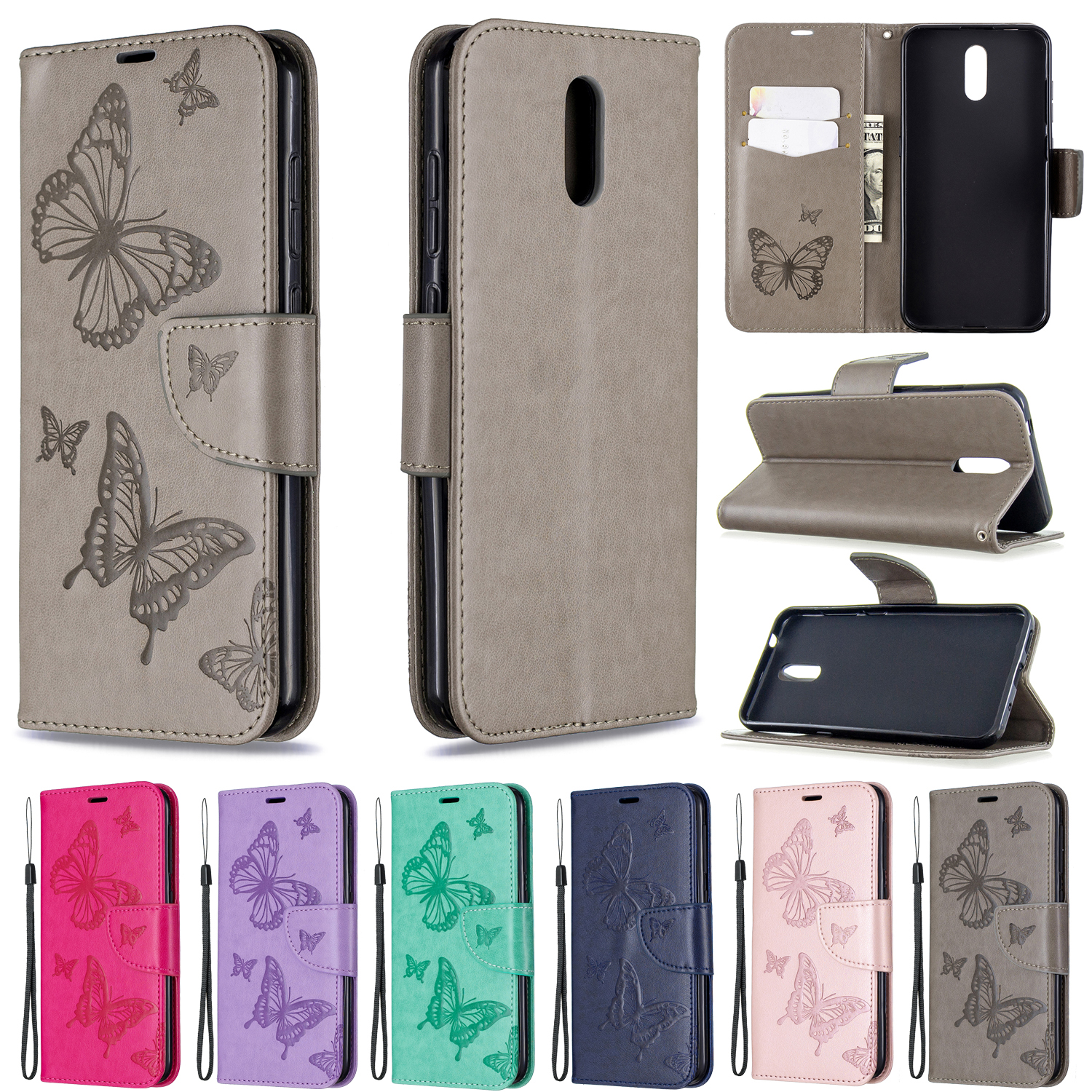 Embossing Butterfly Flip <font><b>Phone</b></font> <font><b>Case</b></font> For <font><b>Nokia</b></font> 2.3 /6.2 /7.2 /2.2 /3.2 /4.2 /<font><b>5.1</b></font> /3.1 Leather Wallet <font><b>Case</b></font> For <font><b>NOKIA</b></font> 1Plus <font><b>Case</b></font> image
