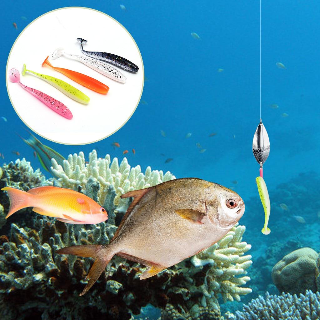 10PCS Soft Bait Tail Soft Fish Soft Insect Lure Bait Soft Fish Rainbow Fish
