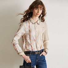 100% шелковая блузка женская рубашка Повседневный стиль с принтом