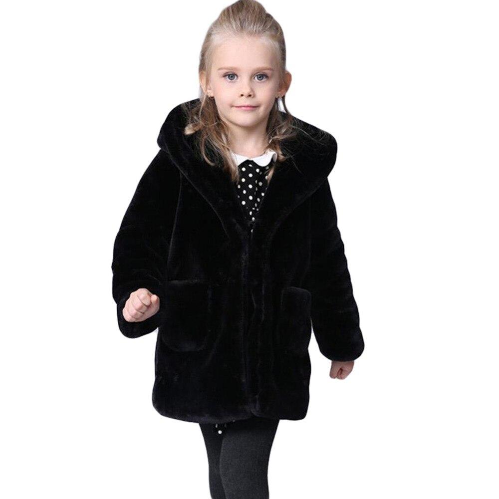 Winter Warm Girls Faux Fur Fleece Girls' Coats Kids Warm Jacket Children Snowsuit Outerwear Dress Style Kids Fur Coat