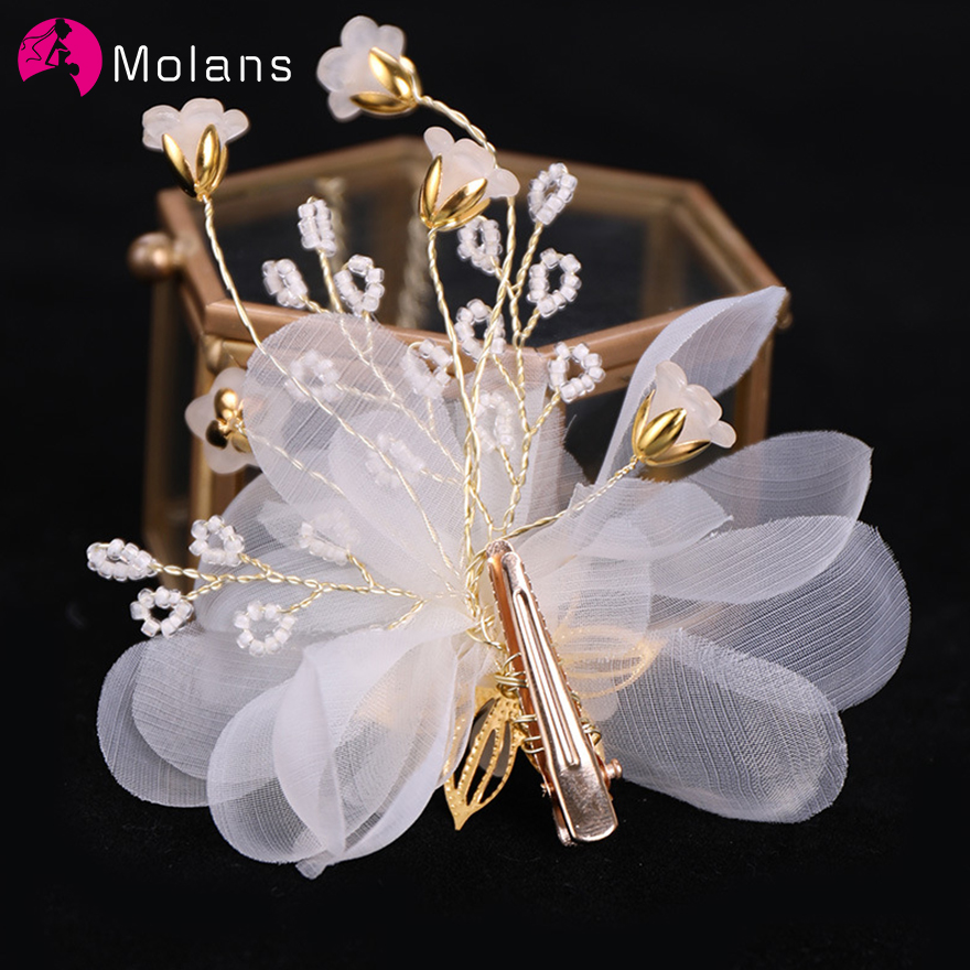 MOLANS Yarn Flower Hairpins Wedding Headdress For Bride Handmade Wedding Combs Floral Pearl Hair Accessories Hair Ornaments