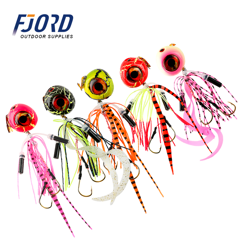 FJORD 5 Color Fishing JIG Skirt  Lead Head Rubber Big Eyes Skirts Tai Rubber Lure Fishing Fishing Lures