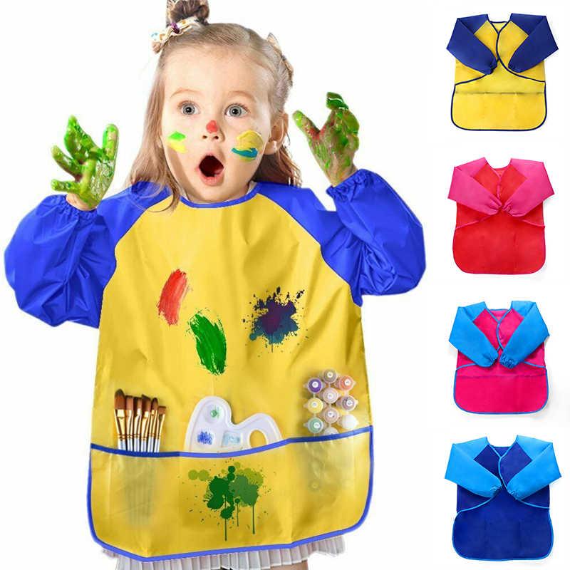 Baby Kids Child Long Sleeve Apron Weaning Feeding Drawing Paint Smock Craft Bib