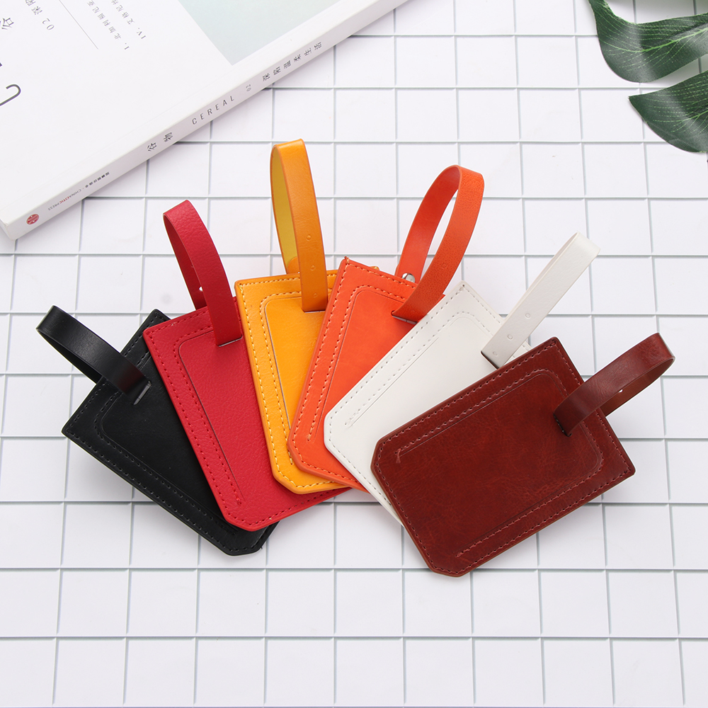 Hot High-Quality PU Leather Suitcase Luggage Tag Label Bag Pendant Handbag Portable Travel Accessories Name ID Address Tags