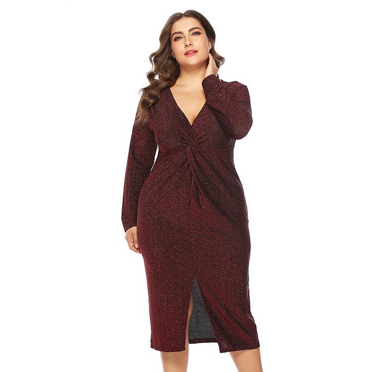XL-5XL 2019 Plus Size Sexy V-neck Dress Autumn Women Bodycon Shiny Dress Long Sleeve Big Large Size Evening Party Female Dress