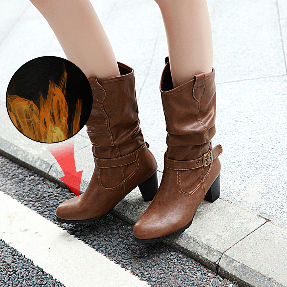 Plus Size 34-43 New Autumn Winter Mid-calf Women Boots High Heels Warm Plush PU Leather Quality Mid Calf Ladies