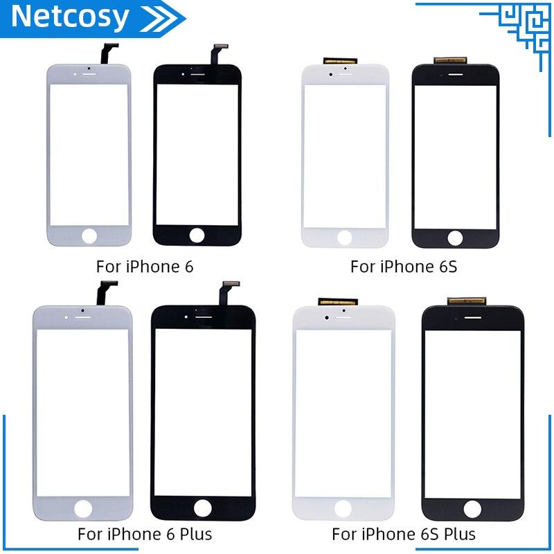 Новый черно-белый сенсорный экран дигитайзер стеклянная панель объектив для iPhone 6 6s 6S Plus дешевый дисплей передняя запасная часть Запасная ч...