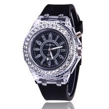 Casual Women Watches Fashion Colorful LED Quartz White Rhinestone Silicone Luminous Glow Sport Watch reloj mujer