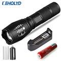 Светодиодный фонарь XM-L T6, ультра яркий, для охоты, кемпинга, светильник, 5 режимов работы, масштабируемый, для велосипеда, с аккумулятором 18650