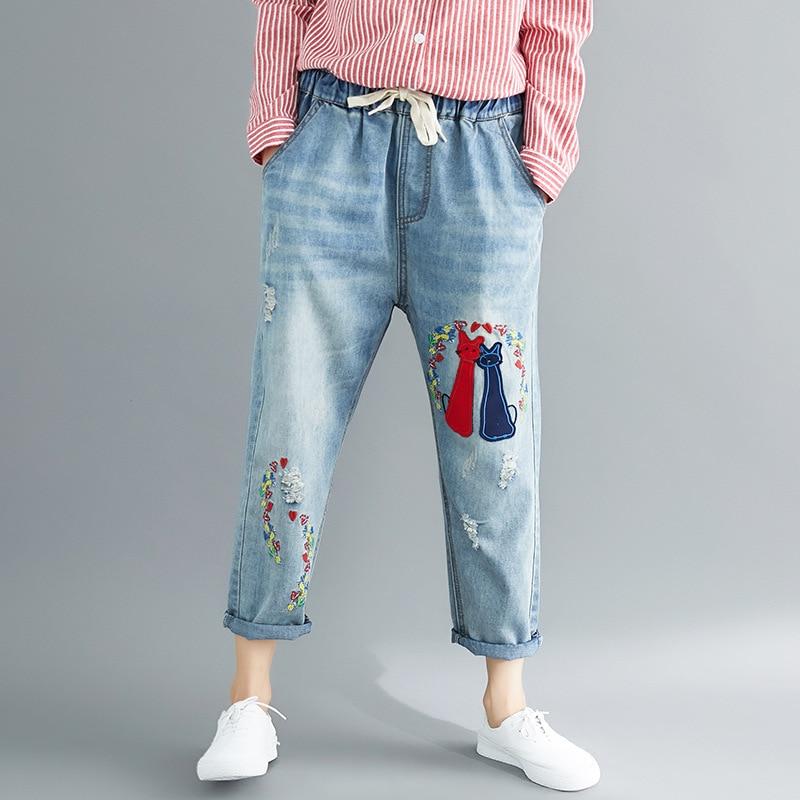 Photo Shoot Korean-style 2018 Origional Literature And Art Large Size Dress Embroidery Jeans Capri Casual Pants