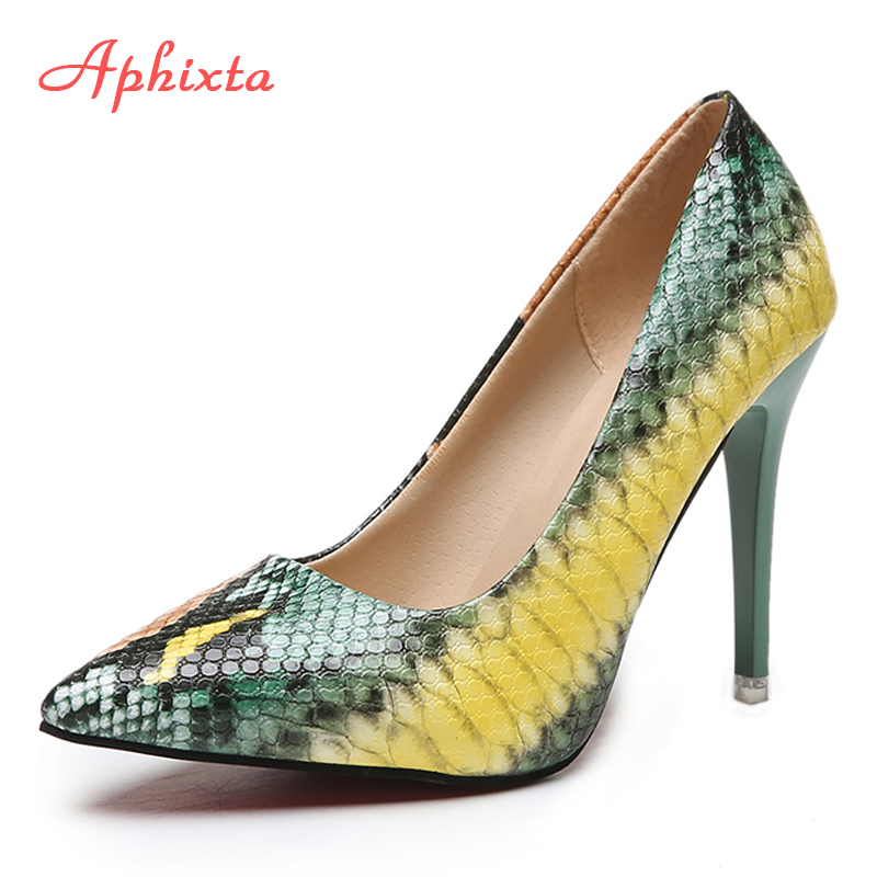 Aphixta Snake Prints Leather Pumps Women Shoes 10cm stiletto Heels Pointed Toe Office Party Dress Shoes Woman Big Size 42(China)