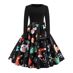 RICORIT Women Christmas Dress Swing Elegant Women Print Dress Party Dresses Long Sleeve Dress Vintage Women Dress Robe Plus Size 2