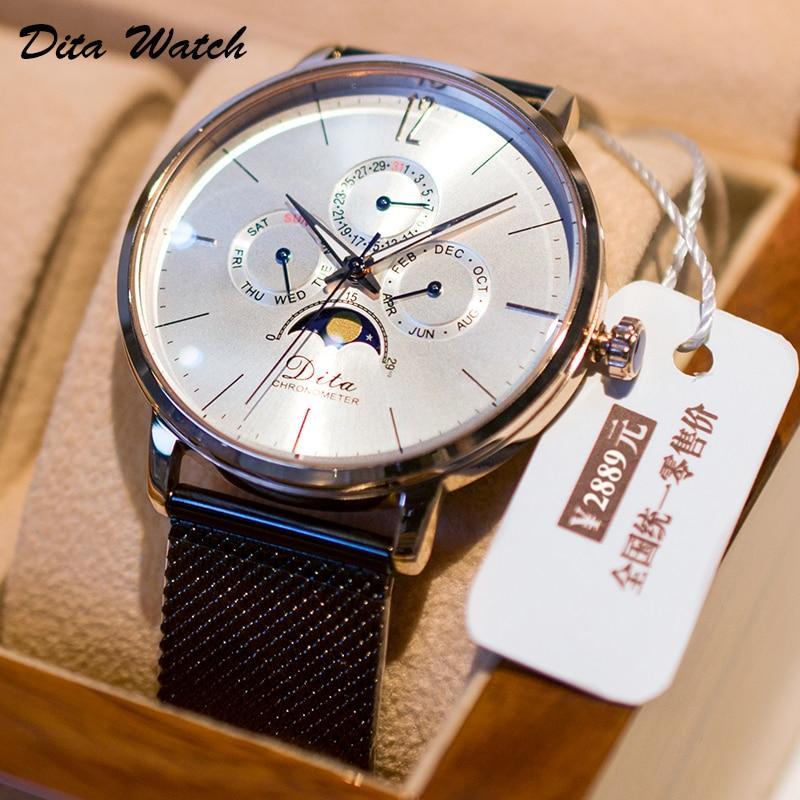 Mens Watches Top Brand Luxury Quartz Watch Men Fashion Waterproof Complete Calendar Moon Phase Week Men Wristwatch New 2019 DITA