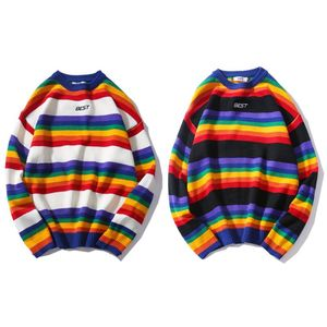Image 1 - Men Women Oversized Sweater Rainbow Striped Round Neck Knitwear Stitching Color Fashion Casual Style Long Sleeve Pullover