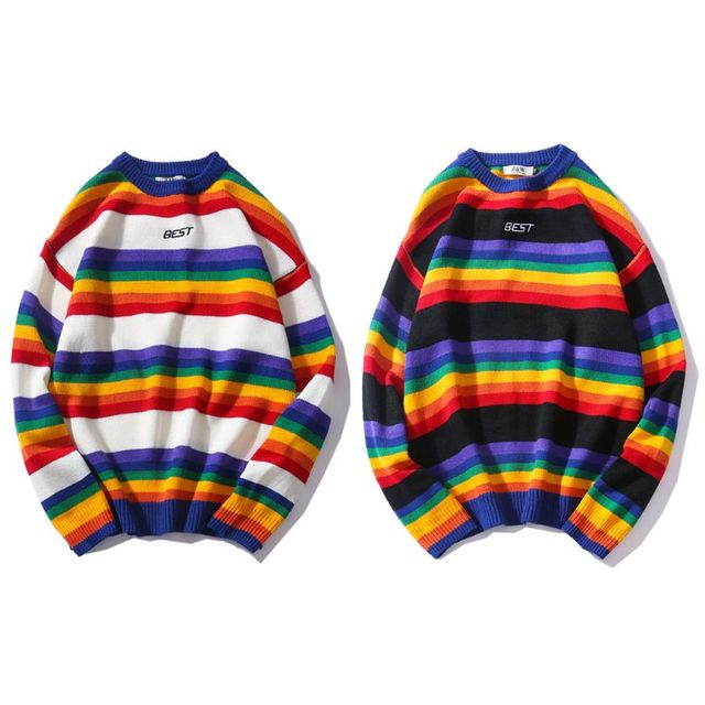 Men Women Oversized Sweater Rainbow Striped Round Neck Knitwear Stitching Color Fashion Casual Style Long Sleeve Pullover