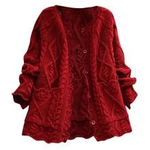 Женский свитер размера плюс, зимний Кардиган, Свитер, вязанное хлопковое пальто, модная женская однотонная пуговица, ежедневные свитера, рукав-фонарик