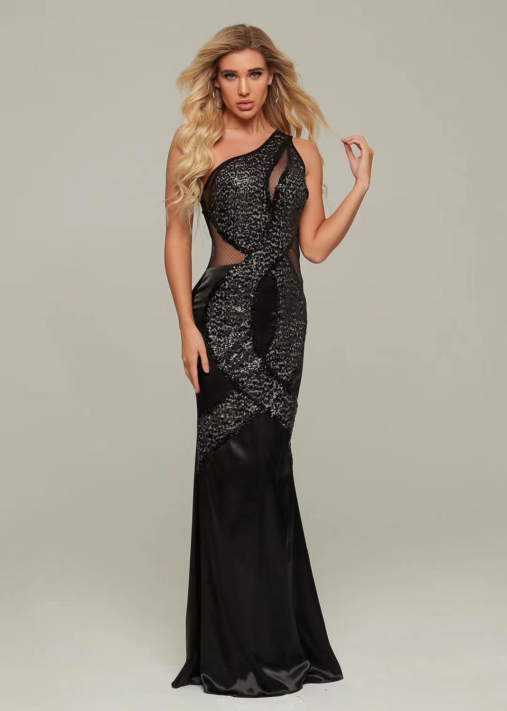 Nouveau luxe Sexy une épaule maille paillettes Maxi longue robe 2019 concepteur de mode soirée robe de soirée Vestido
