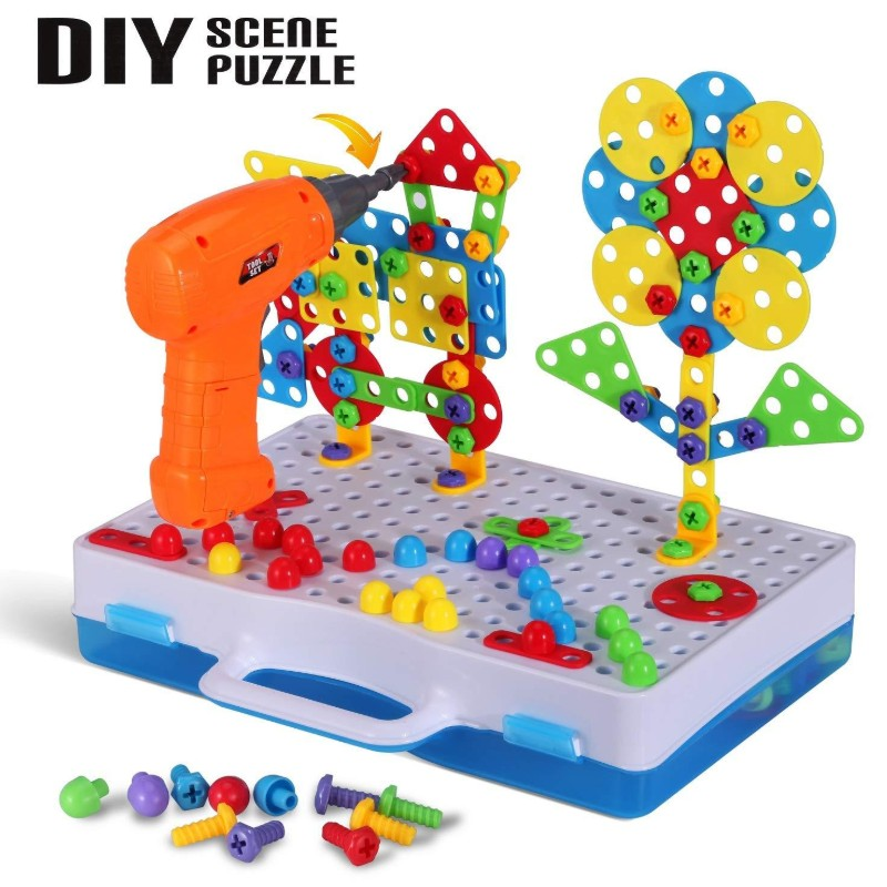 Hot New Electric Screwdriver DIY Educational Toys Drill Game Building Blocks For Children Kids New Design Early Educational Toys