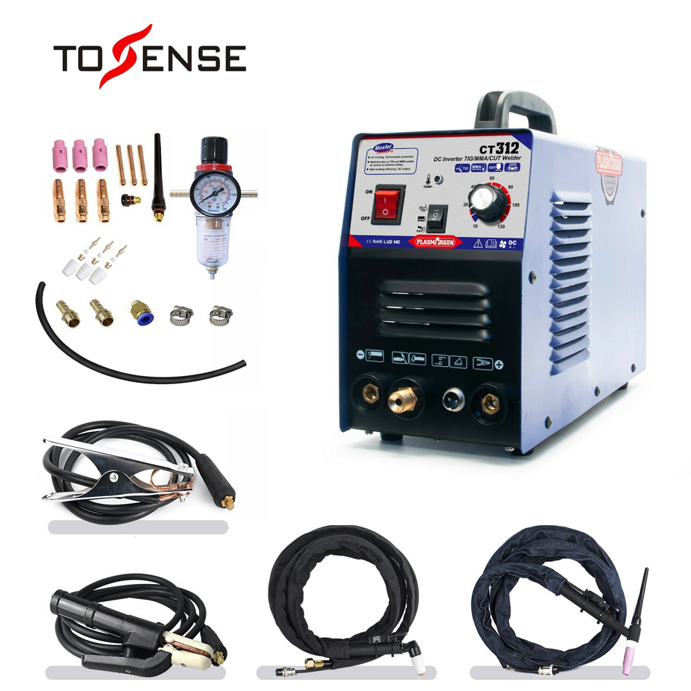 TIG/MMA Air Plasma Cutter - Tosense CT312 3 In 1 Combo Welding Machine,120A TIG/MMA, 30A ARC Plasma Cutter Dual Voltage 110/220v