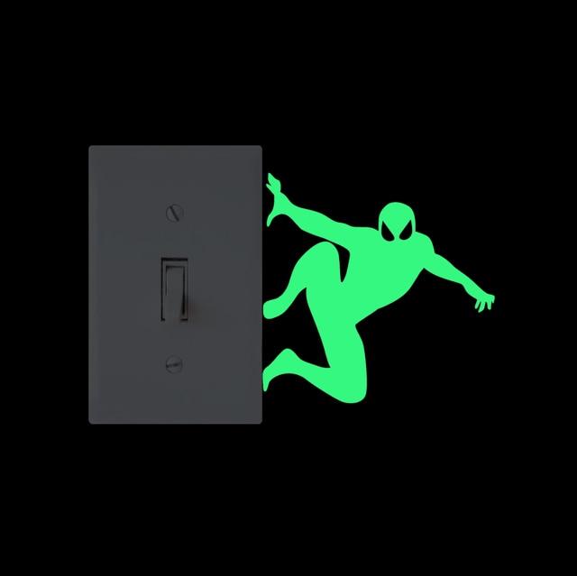 كول الكرتون خارقة الفينيل ضوء ملصق تحويل مضحك قلادة متوهجة ومضيئة في الظلام الجدار ملصق للأطفال غرفة نوم ديكور المنزل