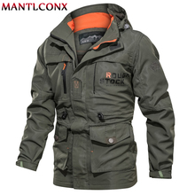 MANTLCONX 2019 Men Military Jacket Coat Autumn Winter Multi-pocket Waterproof Tactical Hooded Windbreaker